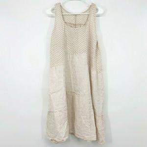 Shyloh Beige Polka Dot Sleeveless Linen Midi Dress